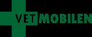 Logga för Vetmobilen AB: ett grönt kors där VET står i korset och fortsätter till höger MOBILEN.