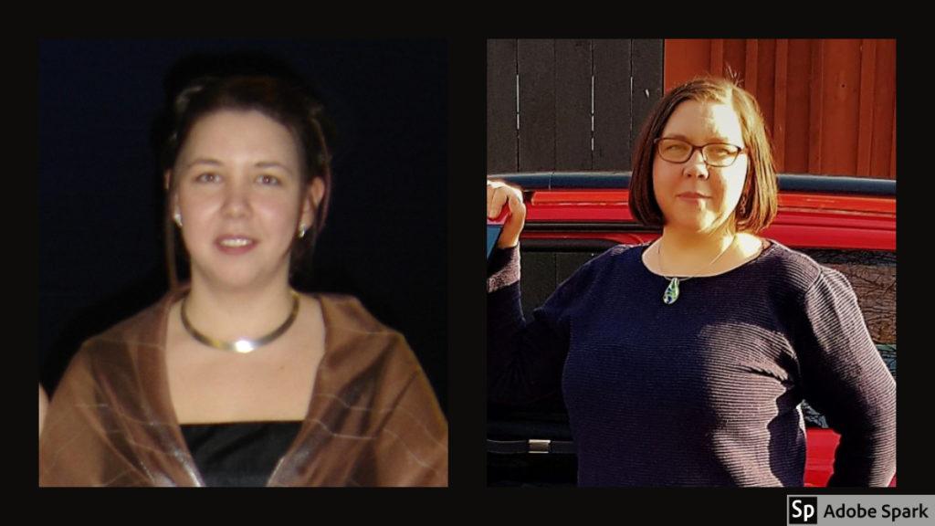 Bild till vänster på nybakad veterinär Agneta Olofsson (nu Andersson) för femton år sedan. Bild till höger på Agneta Andersson vid Vetmobilen som nu firar 1-årsjubileum.